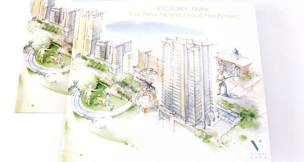 Victory Park Brochure Sales brochure designed for an upscale, urban neighborhood near downtown Dallas